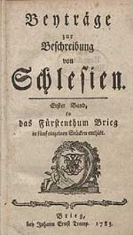 Beyträge zur Beschreibung von Schlesien Bd.1 1783