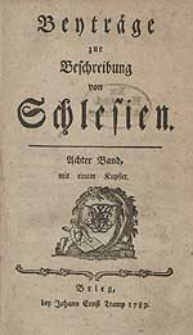 Beyträge zur Beschreibung von Schlesien Bd.8 1789