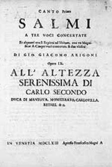 Salmi a tre voci concertate et alquanti con li repieni ad libitum, con un Magnificat a cinque voci concertate & due violini [...] Opera IX.