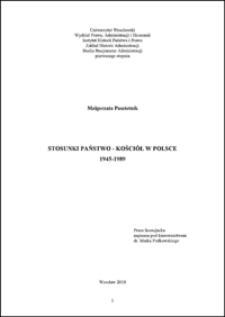 Stosunki państwo - Kościół w Polsce 1945-1989. Rozdz. I, Pierwsze doświadczenia i trudności (1945-1956)