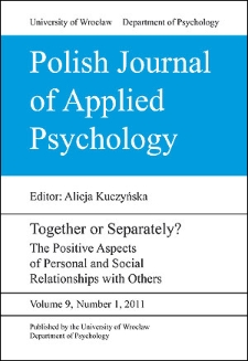 Polish Journal of Applied Psychology - Contents