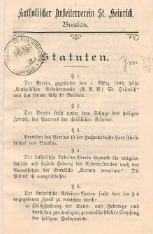 Statuten / Katholischer Arbeiterverein St. Heinrich, Breslau