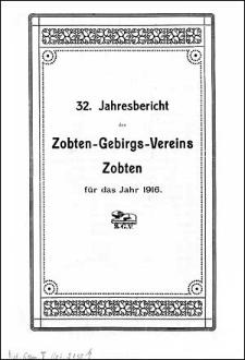 Jahresbericht des Zobten-Gebirgs-Vereins Zobten für das Jahr 1916
