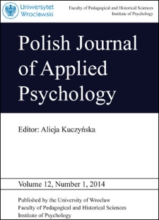 Polish Journal of Applied Psychology Volume 12, Number 1, 2014