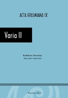 Acta Erasmiana. Varia II