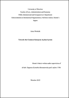 Towards the Common European Asylum System