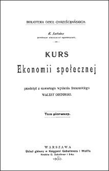 Kurs ekonomii społecznej. T. 1