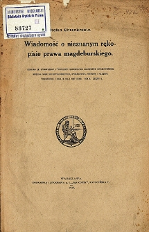 Wiadomość o nieznanym rękopisie prawa magdeburskiego