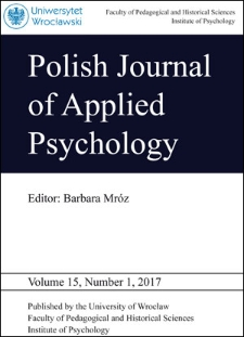 Polish Journal of Applied Psychology Volume 15, Number 1, 2017