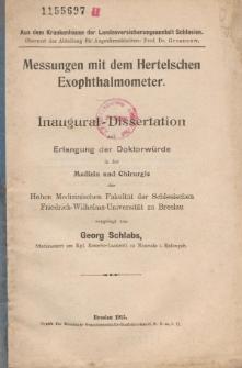 Messungen mit dem Hertelschen Exophthalmometer.