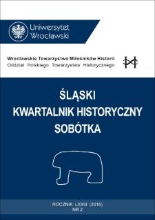 Śląski Kwartalnik Historyczny Sobótka. 2018, nr 2