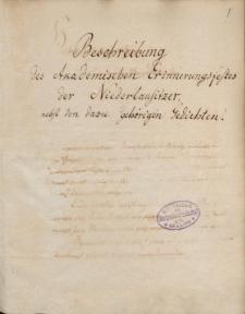 Beschreibung des akademischen Erinnerungsfestes der Niederlausitzer nebst den dazu gehoerigen Gedichten