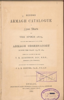 Second Armagh catalogue of 3300 stars for the epoch 1875