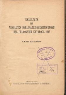 Resultate der Absoluten Deklinationsbestimmungen des Pilkowoer Katalogs 1915
