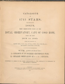 Catalogue of 1713 stars for the equinox 1885.0.