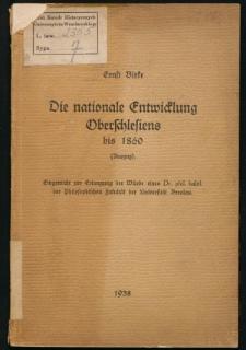 Die nationale Entwicklung Oberschlesiens bis 1860 (Auszug)