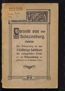 Chronik von Heinzenburg. Zur Erinnerung an des 150 jährige Jubiläum der evangelischen Kirche zu Heinzenburg