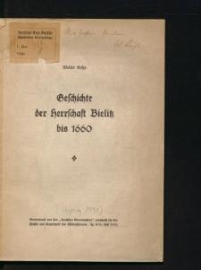 Geschichte der Herrschaft Bielitz bis 1660