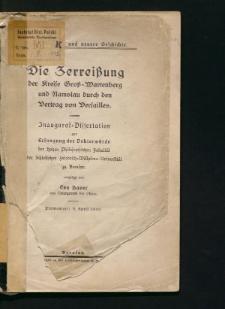 Die Zerreißung der Kreise Groß-Wartenberg und Namslau durch den Vertrag von Versailles
