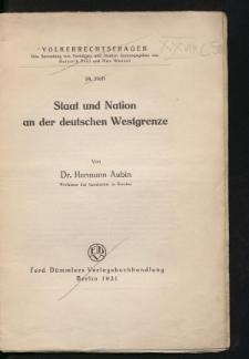 Staat und Nation an der deutschen Westgrenze