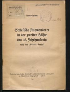 """Schlesische Auswanderer in der zweiten Hälfte des 18. Jahrhunderts nach der """"Wiener Kartei"""""""