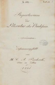 Repertorium der Literatur ueber Budissin
