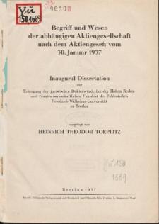 Begriff und Wesen der abhängigen Aktiengesellschaft nach dem Aktiengesetz vom 30. Januar 1937.