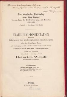 Der deutsche Reichstag unter König Sigmund bis zum Ende der Reichskriege gegen die Hussiten 1410-1431. (Capitel 1, Berufung, Ort, Zeit).