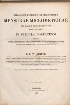 Stellarum duplicium et multiplicium mensurae micrometricae per Magnum Fraunhoferi Tubum annis a 1824 ad 1837 in Specula Dorpatensi Institutae