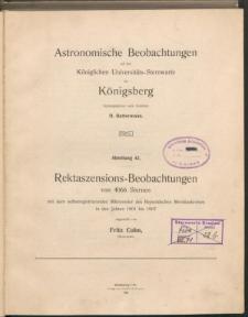 Rektaszensions-Beobachtungen von 4066 Sternen mit dem selbstregistrierenden mikrometer des Respoldschen Meridiankreise in den Jahren 1901 bis 1907
