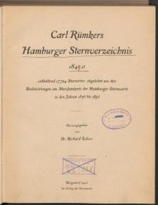 Carl Rümkers Hamburger Sternverzeichnis 1845.0