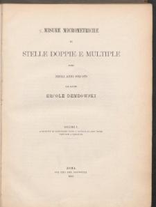Misure Micrometriche di Stelle Doppie a Multiple patte negli anni 1852-1878. Vol. I.