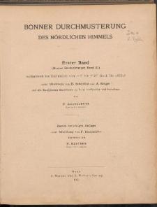 Bonner Durchmusterung des Nördlichen Himmels. Bd. I. (Bonner Beobachtungen Band III) enthaltend die Sternörter von -2° bis +20° Decl. fł4 1855.0n