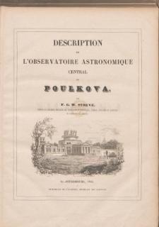 Description de L'Observatoire Astronomique Central de Poulkova