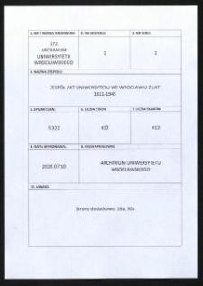 Zulassung zum Studium Ausländer, 8.01.1938 - 18.12.1944
