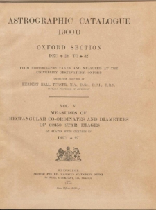 Astrographic Catalogue 1900.0 Oxford Section Dec. +24° to +32°