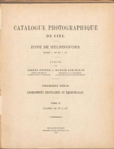 Catalogue Photographique du Ciel. Zone de Helsingfors. Entre +39° et +47°.