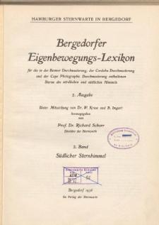 Bergedorfer Eigenbewegungs-Lexicon Bd. 2. Südlicher Sternhimmel