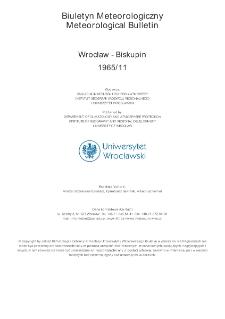 Biuletyn Meteorologiczny Zakładu Klimatologii i Ochrony Atmosfery UWr: Wrocław 1965 - listopad