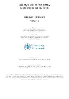 Biuletyn Meteorologiczny Zakładu Klimatologii i Ochrony Atmosfery UWr: Wrocław 1970 - grudzień