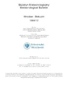 Biuletyn Meteorologiczny Zakładu Klimatologii i Ochrony Atmosfery UWr: Wrocław 1989 - grudzień