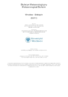 Biuletyn Meteorologiczny Zakładu Klimatologii i Ochrony Atmosfery UWr: Wrocław 2007 - marzec