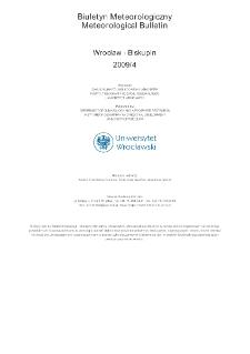 Biuletyn Meteorologiczny Zakładu Klimatologii i Ochrony Atmosfery UWr: Wrocław 2009 - kwiecień