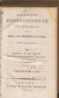 Monatliche Correspondenz zur beförderung der Erd- und Himmels-Kunde. Bd. XIV.