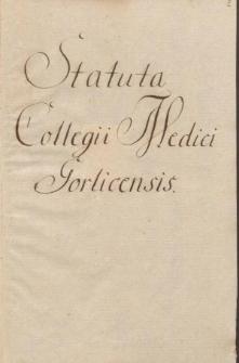Statuta Collegii Medici Gorlicensis