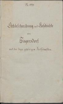 Ortsbeschreibung und Geschichte von Siegersdorf und den dazu gehoerigen Dorfschaften