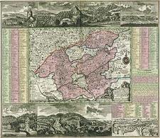 Accurate abbildung der Statt Kayser Carlsbad nach doppelten Prospect, und Geograph. Situation in Böhmen in dem Elnbogner Crais gelegen samt angränzender Gegend und Landschafften [...]