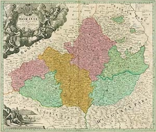 Tabula generalis Marchionatus Moraviae in sex circulos divisae quos mandato caesareo accurate emensus hac mappa delineatos exhibet Joh. Christoph. Müller [...]