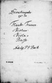 Divertimento. Ex G. [...] Del. Sigr. Bach