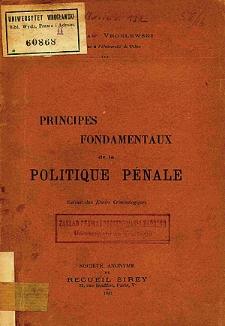 Principes fondamentaux de la politique pénale